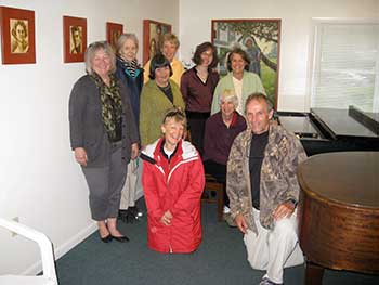 GPA performs for the 2012 Adamant Black Fly Festival Concert. Back - from left to right: Kate Wolinsky, Elizabeth Randall, Norine Grant, Anne McGuire, Melody Puller, Susan Nicholas Front: Elaine Greenfield, Barbara Williams, Eric Ryea (coordinator of event)